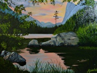 Marilyn Domilski; High Country Twilight, 2018, Original Painting Oil, 20 x 16 inches. Artwork description: 241 High Country Twilight depicts the last rays of a pastel sunset.  The sky and clouds are reflected in the lake below creating beautiful reflections. Cliffs and forests make up the background while rocks, reflections and foliage in the foreground make for a calming and beautiful scene. ...