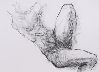 Noella Roos; Torso 3, 2010, Original Drawing Charcoal, 109 x 79 cm. Artwork description: 241  Dance, body, anatomy, movement, expression, live drawing, black and white, paper ...