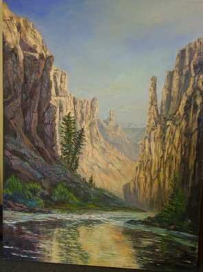 Norman Nelson; Downriver, 2007, Original Painting Oil, 48 x 36 inches. Artwork description: 241  Looking downriver on the Bruneau Rivera wilderness desert stream in southernIdaho ...