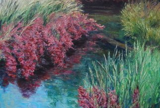 Norman Nelson; Huckleberry Grass, 2009, Original Painting Oil, 16 x 20 inches. Artwork description: 241  Huckleberry plants in full fall colors are complimented by ajoining grasses beginning to change to brown. ...