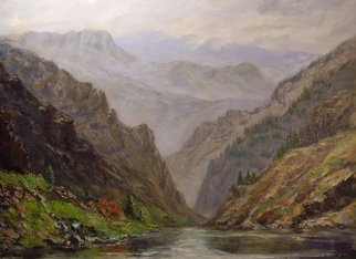 Norman Nelson; Middle Fork Of The Salmon, 2007, Original Painting Oil, 48 x 36 inches. Artwork description: 241  Scene looking downstream on the Middle Fork Salmon river into the Ship Islandcreek canyons. ...