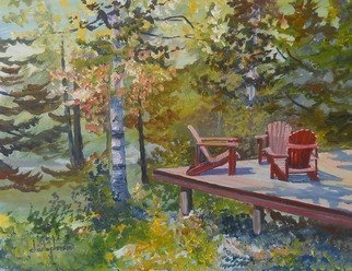 William Christopherson; Adirondack Mountains Camp..., 2012, Original Painting Oil, 14 x 11 inches. Artwork description: 241     Title: Casagrain Studio 16 x 20 x 3/ 4 stretched canvas. The ride to Lake Placid - a sign for Casagrain Studio. I had to paint his wonderful forest deck. Impressionism to reflect color and deepness of the mountain woodlands. Completed in Grumbacher oils - painting wraps around sides. ...