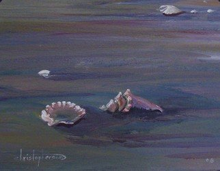 William Christopherson, 'Florida Fort Meyers Beach...', 2008, original Painting Acrylic, 14 x 11  inches. Artwork description: 1911  Artists impression of a walk along Fort Meyers Beach, coming upon shells at low tide.  Image 8 x 10, mounted on 3/ 8