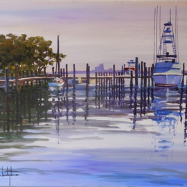 William Christopherson, , , Original Painting Oil, size_width{Florida_Ponce_Inlet_Boats_Atlantic_Coast_Christopherson-1390148428.jpg} X 14 inches
