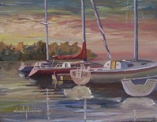William Christopherson, 'Great Lakes Sailing  Lake...', 2008, original Painting Oil, 14 x 11  inches. Artwork description: 1911  Artists' impression of sailor' s morning at Chaumont Bay, Lkae Ontario ...