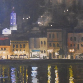William Christopherson, , , Original Watercolor, size_width{Greece_Siros_Cyclade_Islands_Nightscape-1321126918.jpg} X 20 inches
