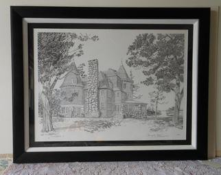 William Christopherson; Keewaydin Mansion Framed, 2010, Original Printmaking Monoprint, 26 x 22 inches.