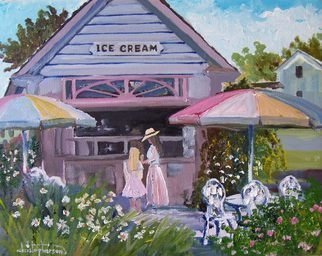 William Christopherson, 'Sackets Harbor Ice Cream ...', 2008, original Painting Oil, 14 x 11  x 1 inches. Artwork description: 1911  Original oil artwork by New York artist William Christopherson titled Sackets Ice Cream. A Plein- Air original by the artist - summer 2008. Painting wraps around canvas stretched sides, for non- frame display. 11x14 frame ready. Shipped rigid flat, securely packaged 2- day USPS. 7- day return full ...