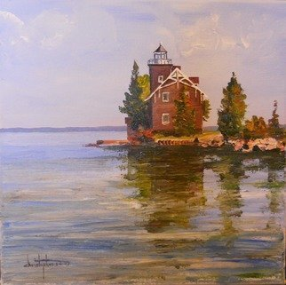 William Christopherson; Sisters Island Lighthouse..., 2012, Original Painting Oil, 12 x 12 inches. Artwork description: 241      Title: Sister' s Island Lighthouse 12 x 12 x 3/ 4 stretched canvas. An original from my travels along the Saint Lawrence August 2012. Impressionism to reflect color and deepness of the surrounding waters, and the richness of the stoework. Completed in Grumbacher oils - painting wraps around ...