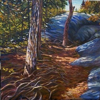 William Christopherson; on a mountain trail, 2016, Original Painting Oil, 36 x 36 inches. Artwork description: 241 Broad bruch approach in oil of the Adirondack hiking experience. ...