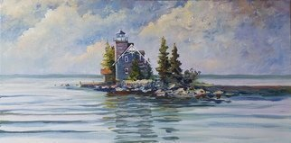 William Christopherson; Sisters Island Lighthouse, 2018, Original Painting Oil, 26 x 14 inches. Artwork description: 241 Original oil artwork on stretched canvas from the St.  Lawrence River, 4 miles north of Alexandria Bay, in the Thousand Islands.  Historic lighthouse on the US- Canadian international boundary.  Completed in broad- brush oil stroke technique.  Professionally framed in beechwood, wall ready. ...
