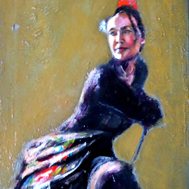 Renuka Pillai, , , Original Painting Oil, size_width{Resting_Flamenco_Dancer-1561228238.jpg} X 11 inches