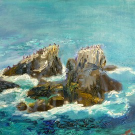 Renuka Pillai, , , Original Painting Oil, size_width{Seal_Rocks-1420426417.jpg} X 9 inches