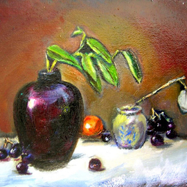 Renuka Pillai, , , Original Painting Oil, size_width{Still_Life_with_Black_Jar-1290996991.jpg} X 9 inches