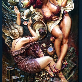 Artist: Janusz Obst, title: Hells Kitchen witches, 2005, Original Bas Relief