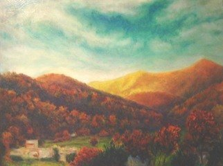 Ron Ogle, 'The View From Jesse Israe...', 1992, original Painting Oil, 42 x 36  x 2 inches. Artwork description: 2307  The view from atop the cliff in Jesse Israel' s front yard, on highway 151, up past Candler, towards Mount Pisgah....