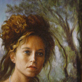 Ron Ogle, , , Original Painting Oil, size_width{Young_Woman_Out_of_the_Woods-1153657992.jpg} X 11 inches