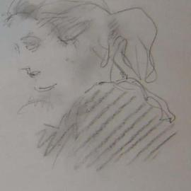 Ron Ogle, Young Woman Out of the Wood..., 1998, Original Drawing Pencil, size_width{brunette-1145238387.jpg} X 7 inches