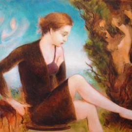 Ron Ogle, Young Woman Out of the Wood..., 2003, Original Painting Oil, size_width{emily-1112023675.jpg} X 8 inches