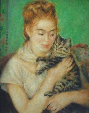 Ron Ogle, , , Original Painting Oil, size_width{young_lady_with_cat_______after_Renoir_-1113405003.jpg} X 20 inches
