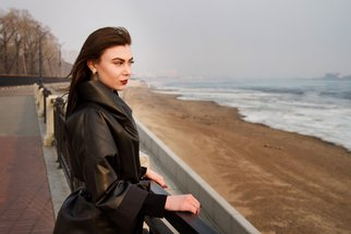 Ivan Krivenko; Portrait Of Brunette Girl, 2018, Original Photography Digital, 304 x 203 mm. Artwork description: 241 portrait, girl, cute, attractive, brunette, black, leather, coat, caucasian, spring, autumn, street, cold, quay, fashion, young, woman...