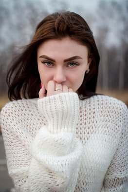 Ivan Krivenko; Portrait Of Brunette Girl, 2018, Original Photography Digital, 169 x 254 mm. Artwork description: 241 sexy, brunette, girl, caucasian, white, sweater, jacket, posing, cute, attractive, spring, autumn, street, wind, young, woman, fashion, portrait, face, eyes, sight...