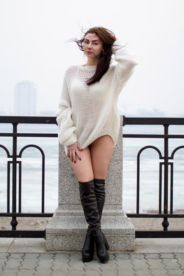 Ivan Krivenko; Sexy Brunette Girl, 2018, Original Photography Digital, 169 x 254 mm. Artwork description: 241 sexy, brunette, girl, caucasian, white, sweater, jacket, posing, cute, attractive, spring, autumn, street, wind, hot, young, woman, fashion, legs, short...