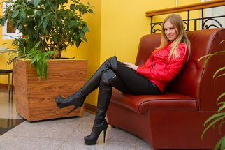 Ivan Krivenko; Sexy Girl In Red Leather Coat, 2018, Original Photography Digital, 254 x 169 mm. Artwork description: 241 sexy, girl, legs, blonde, jackboots, smile, fettish, high heels, posing, slim, hot, cute, attractive, beautiful, model, cheerful, joyful, woman, red, leather, coat, fetish...