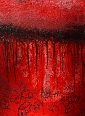 Obert Fittje; Bloody War, 2008, Original Painting Oil, 18 x 24 inches. Artwork description: 241     This is a companion piece to The First Plague of America: Blood and the painting W* A* R.  This painting is intended to be a frightening image of bloody war and represents my feelings about war.      ...