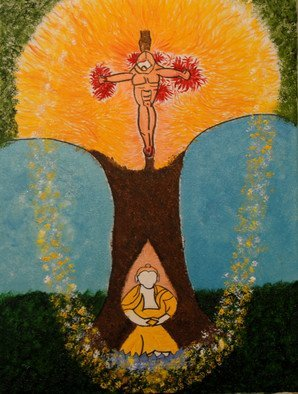 Obert Fittje; Christ And Buddha, 2010, Original Painting Oil, 18 x 24 inches. Artwork description: 241   This is an image that combines Buddhism and Christianity with the Buddha sitting under the tree meditating and the figure of Christ crucified in the tree/ on the cross.           ...