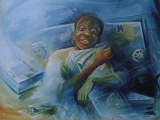 Okezie Nwosu; In The Midst Of Plenty, 2006, Original Mixed Media, 42 x 30 inches. Artwork description: 241  A painting of a male youth caught in the ecstasy of wealth ...