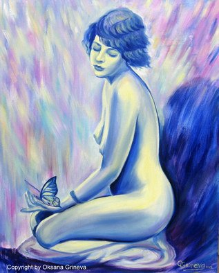 Oksana Grineva; Madam Butterfly , 2012, Original Painting Oil, 24 x 30 inches. Artwork description: 241      Nude, Figurative, female, people, woman , contemporary, original, giclee, prints                 ...