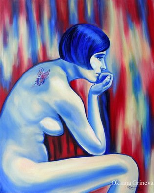 Oksana Grineva; Shadows Of The Mind, 2013, Original Painting Oil, 24 x 30 inches. Artwork description: 241     Nude, Figurative, female, people, woman , contemporary, original, giclee, prints      ...
