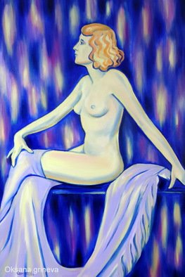 Oksana Grineva; Society Girl, 2013, Original Painting Oil, 24 x 36 inches. Artwork description: 241     Nude, Figurative, female, people, woman , contemporary, original, giclee, prints                ...