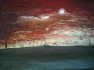 Olaoluwa Smith; Sunset In Africa, 2006, Original Painting Oil, 54 x 35 inches.