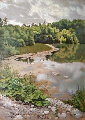 Oleg Khoroshilov; An Old Pond, 2020, Original Painting Acrylic, 50 x 70 cm. Artwork description: 241 Calmness and peace enveloped the water surface of the old pond. And only there, in the distance, a random single ray touched the crowns of trees creating a joyful mood. ...