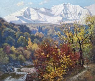 Oleg Khoroshilov; By The Nalchik River, 2019, Original Painting Acrylic, 70 x 60 cm. Artwork description: 241 Walking in the park one autumn day along the river, I saw a wonderful view that I decided to depict on the canvas. ...