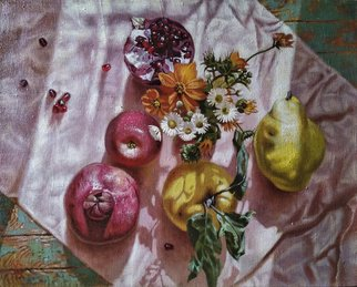Oleg Khoroshilov; Fruits Illuminated By The Sun, 2020, Original Painting Acrylic, 50 x 40 cm. Artwork description: 241 The morning ray of the sun, by chance illuminated the room inspired me to create this work. ...