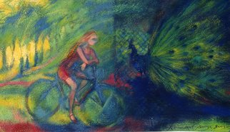 Olena Kamenetska; Peacock, 2003, Original Painting Oil, 62 x 37 cm. Artwork description: 241  Girl on a bicycle rode through the park and saw a cage with peacock ...