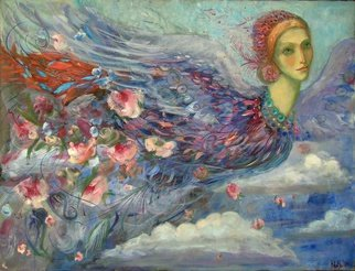 Olga Bukowska; In The Clouds, 2014, Original Painting Oil, 89 x 116 cm. Artwork description: 241   bird, face, woman, feather, clouds, sky ...