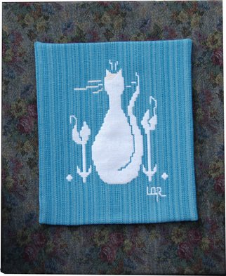 Lisbet Olin-Ranstam; Cat In Flowerbed, 2006, Original Crafts, 50 x 60 cm. Artwork description: 241 Wallhanging, handwoven in Scandinavian double- weft and mounted on a cloth- covered frame...