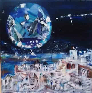 Liz Taylor; Blue Moon Over Santorini, 2020, Original Painting, 24 x 24 inches. Artwork description: 241 Blue Moon Over Santorini is part of a huge body of work called OVER THE MOON 2020.  The piece is inspired by my travels through the Greek Islands.  The actual blue moon has shown itself over Santorini and is a spectacular sight.  Created using collage and acrylics, ...