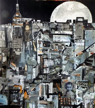 Liz Taylor; Moon Over New York City, 2020, Original Painting, 60 x 80 inches. Artwork description: 241 I am creating a body of work called OVER THE MOON 2020.  Each piece of work is created in collage, using recycled materials.  Each piece of work is totally unique, with no prints available.  Moon Over New York City is the largest of the pieces, is framed ...