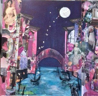 Liz Taylor; Moon Over Romantic Venice, 2020, Original Painting, 24 x 24 inches. Artwork description: 241 I am creating a body of work called OVER THE MOON 2020.  Each piece of work is created in collage, using recycled materials.  Each piece of work is totally unique, with no prints available.  Moon Over Romantic Venice is the most romantic of the series containing the ...
