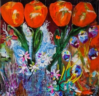 Liz Taylor; Orange Tulips, 2020, Original Painting Acrylic, 30 x 30 inches. Artwork description: 241 A large, bright mixed media painting created in collage using recycled materials. Huge orange blooms in a fantastical garden is a stunning piece of work. Framed in a modern white gloss frame ready to hang. ...