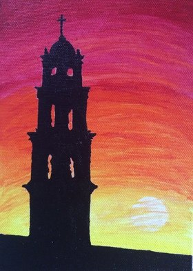 Pooja Shah; Waiting For The Sunset, 2014, Original Painting Acrylic, 5 x 7 inches. Artwork description: 241  Always in love with sunsets, an abandoned church stands proud ...