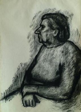 Dario Raffaele Orioli; Portrait 7, 1976, Original Drawing Charcoal, 80 x 40 inches. Artwork description: 241 Thise portrait I work wery hardly , on white whatercolours papier ...
