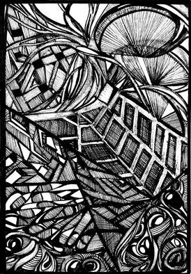 D. K. Osorio; Compartmentalizing Mental..., 2013, Original Illustration, 6 x 4 inches. Artwork description: 241  Anxiety seeps through the barriers once strong with resolve. ...