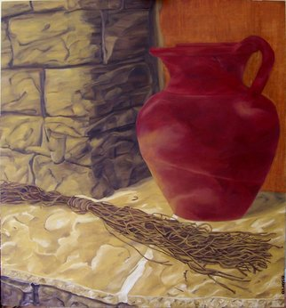 D. K. Osorio; Der Hauswein, 2010, Original Painting Oil, 122 x 122 cm. Artwork description: 241  red, wine, jug, sun, stone,  ledge, painting  ...