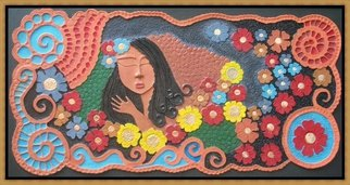 Otil Rotcod; CONTEMPLATION, 2013, Original Mixed Media, 81 x 152 inches. Artwork description: 241  All handmade papier mache artwork, a depiction of a beautiful lady whose thinking of beautiful thoughts and whose at peace with her sorroundings.              ...